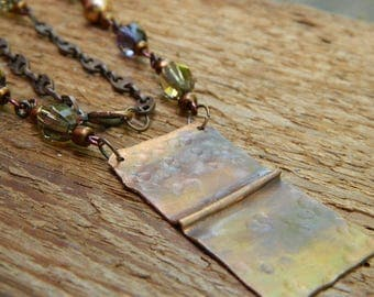 Boho necklace Copper necklace mixed media jewelry
