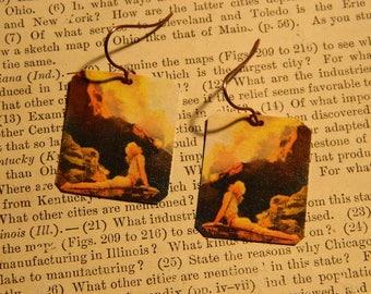 Maxfield Parrish earrings Maxfield Parrish jewelry Art Gift