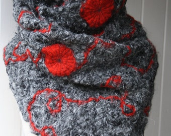 Silver/grey/black with red applique sewn (crazy wool technique) shawl FREE UK SHIPPING