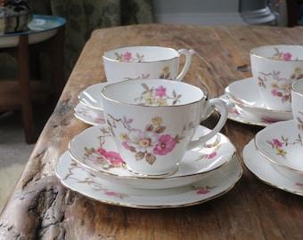 Floral vintage china tea cup trio