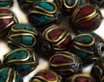Nepal Tribal Brass Beads with Coral and Turquoise Plated Inlays 10 Beads 10mm Round NTB010