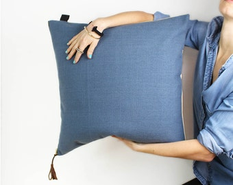 """Blue Linen pillow COVER  20""""x20"""" and taupe velvet, leather label, leather tassel, washable pillow by Maynest on Etsy"""