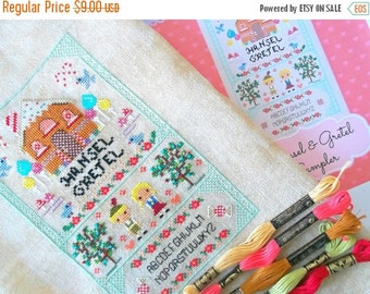 HALF OFF STOCK Up Sale Hansel and Gretel Fairy Tale Cross Stitch Pattern - Kawaii Cross Stitch Pdf - Cross Stitch Sampler