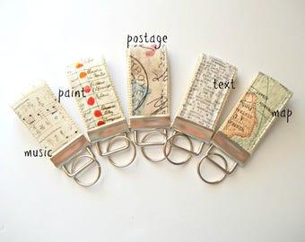 Vintage Mini Key Fob Set of Five  - Fabric Wristilet - VIntage Fabric