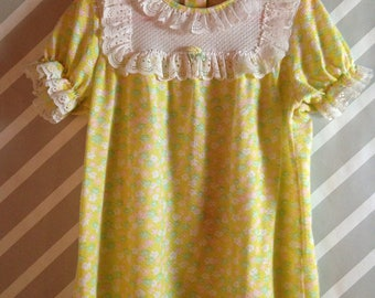 vintage carters yellow floral pajama top for girls size 4 5 6 years