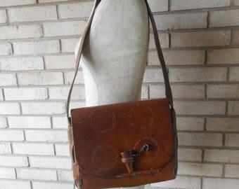 Spring Sale Vintage Tooled Leather Structured Saddle Bag Shoulder Bag 70s