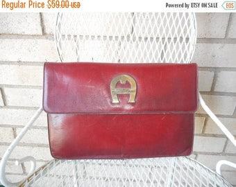 Spring Sale Vintage Etienne Aigner Big A Handmade Convertible Clutch Shoulder Bag Oxblood Burgundy 70s