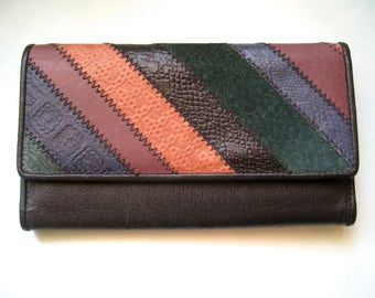 Vintage Wallet, Black leather wallet, Color Block Wallet, Dark Rainbow from the 90s
