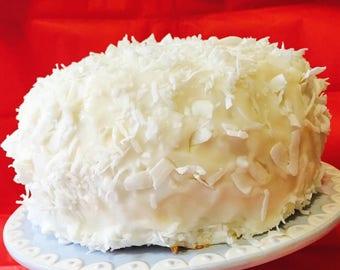 Vegan Gluten Free Coconut Vanilla cake, love, animal free cruelty,no eggs,no dairy.