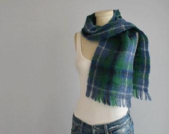 Vintage Mohair Plaid Scarf / Scottish Tartan Fringed Wool Scarf / Blue Green Plaid Made in Scotland