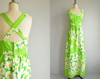 Vintage 70s Malia Maxi Dress /  1970s Mod Green Floral Daisy Print Long Luau Halter Sundress / Made in Hawaii
