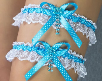 Set of 2 polka dots gartesr for your wedding,  or just special occasion lace organza rhinestones blue white