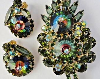 Juliana 1960's Watermelon Rivoli Green Rhinestones 3 1/2 Inch Stacked Brooch and Clip Earring Set DeLizza & Elster Rainbow Colors