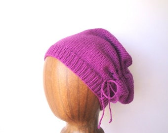 Scrunch Slouch Hat, Magenta Pink, Gathered Hat, Slouchy Beanie, Drawstring Bow, Hand Knit, Soft Wool