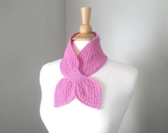 Bubblegum Pink Ascot Scarf, Hand Knit Pull Through Keyhole Scarflette, Neck Warmer, Merino Wool & Alpaca