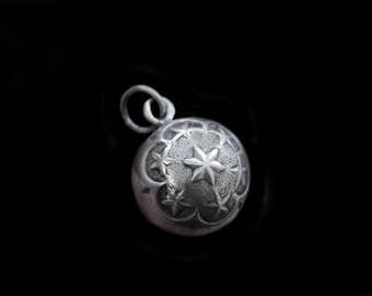 Antique Silver Orb Fob Charm w Lovely Raised Star Designs