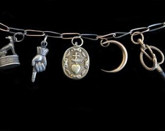 Sandra Hendler  Lover's Eye Miniature Painting  in TINY Gorgeous Gilded  Antique Silver Radiant Heart Ex Voto Locket Reliquary Pendant