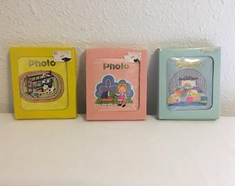 Vintage Photo Albums, Set of 3 Un-used Mini Photo Albums, Baby Photo Albums