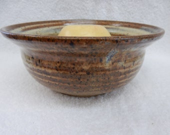 """Stoneware Pottery Apple Baker. Size: 6""""to 7"""" dia. across top x 2-1/2"""" to 3""""tall."""