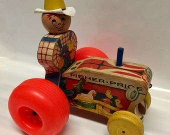 Vintage Wooden Fisher Price Tractor and Farmer Pull Toy #629, 1961