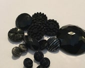 Collection of Antique Black Glass Buttons