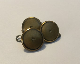 Vintage Metal /Brass Buttons...Set of Three,5/8""