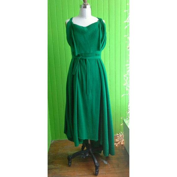 Amazing Vintage Archival Yohji Yamamoto Y's Green Wrap Knit Dress Japan 1990s