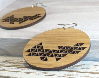 Round Wooden Disc Earrings // Statement Earrings // Dangle // Geometric Bamboo Earrings // Hypoallergenic // Triangle // Wood Jewelry //
