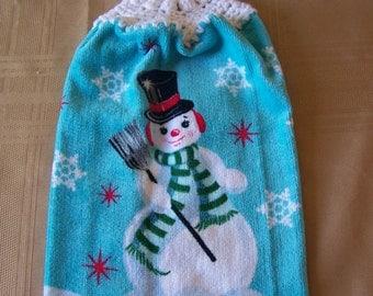 Christmas Hanging Dish Towel, Hanging Dish Towel, Hanigng Kitchen Towel, Crochet Top Towel, Home Decor, Holiday Decor