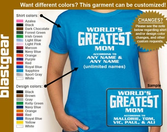 World's Greatest Mom (or any text) Custom Names womens T-shirt — Any color/Any size - Adult S, M, L, XL, 2XL, 3XL