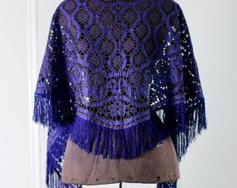 1895-1900 Lace Shawl, Blue Silk Wrap // Womens Antique Accessories, Large Shawl Wrap. Piano Shawl.  // SteamPunk Goth Wedding