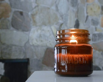Amber Wood Wick Mason Jar Soy Candle - 8oz