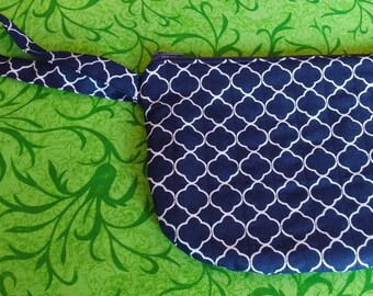 Blue quilted wristlet