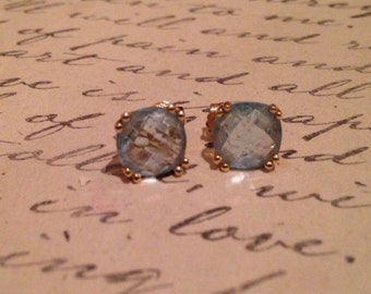Faceted Aquamarine & 14K Yellow gold Stud Earrings- free shipping
