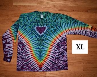 Tie Dye T-Shirt ~ Fire V with Aqua Scrunch, Purple Heart, and Purple Scrunch Background~ C_0049 Long Sleeve Adult XL
