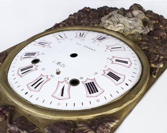 """French Antique Clock Face for Comptoise/Morbier Clock...17"""" x 11""""...Hand Painted Pressed Brass...Shabby Chic...Nordic Living..."""
