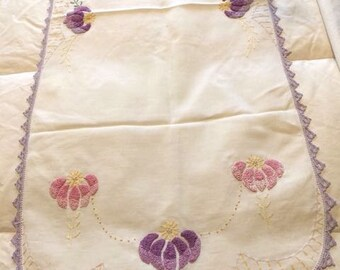 Vintage Needlework Runner Lovely Lavenders and Pinks