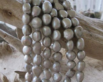 """Baroque Freshwater Pearl Big Hole Bead Silver Gray 2 MM Large Hole Approx 8"""" 10-12 MM"""