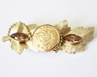 WEST POINT cadet vintage button brooch, better than a corsage. Faceted amber crystals,  top quality