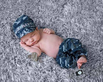 Baby Us navy Outfit, Baby Nwu outfit, Nwu pants, Navy type iii outfit, Baby sailor, Us navy hat and pants set, Baby military uniform