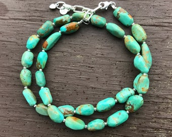 Turquoise Large Stone and Seed Bead Necklace, Adjustable, Turquoise Pebble Necklace, Natural Smooth Tumbled Turquoise Necklace