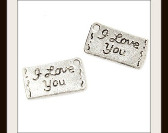 10 I Love You Charms Antique Silver Tone 15 x 9 mm Double Sided - ts1123