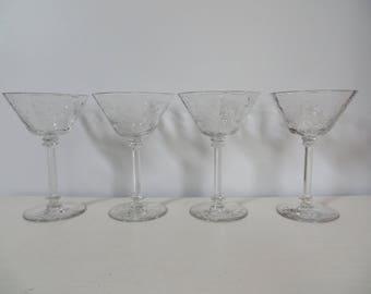 Decorative Crystal Martini Glasses - Set of 4