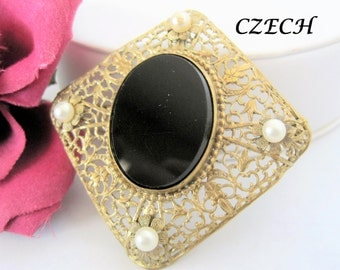 Czech Black Brooch - Art Deco Pin  - Black Glass Cabachon - Faux Pearl Highlights  - C Clasp Pin