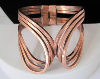 Renoir Copper Cuff - Rhythm Pattern -  Signed Wrap Bracelet  - Modernist Hinged - Clamper Bracelet