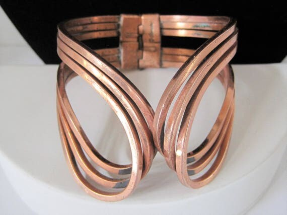 Renoir Copper Cuff - Rhythm Pattern -  Signed Wrap Bracelet  - Modernist Hinged - Clamper Bracelet
