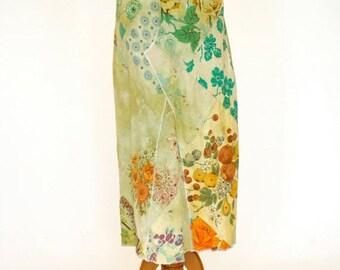 20% OFF SALE 70's Vintage Patchwork Skirt, Long Maxi Skirt, Boho Collage Skirt