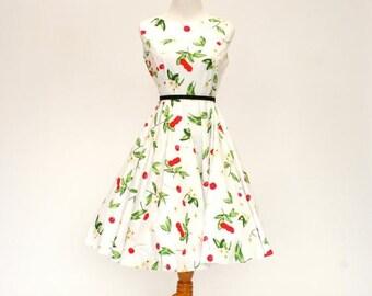 20% OFF SALE 50's/60's Vintage Retro Fit and Flare Dress, Cherry Print Dress, Women's Medium