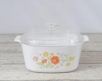 Vintage Corning Ware WILDFLOWER 3Qt Casserole Orange/Yellow Floral Pyrex Lid A-9-C