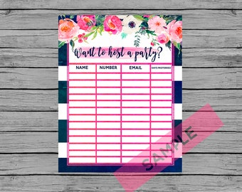 INSTANT DOWNLOAD Navy floral watercolor LipSense host a party print sign up sheet party package print bundle printable name address email